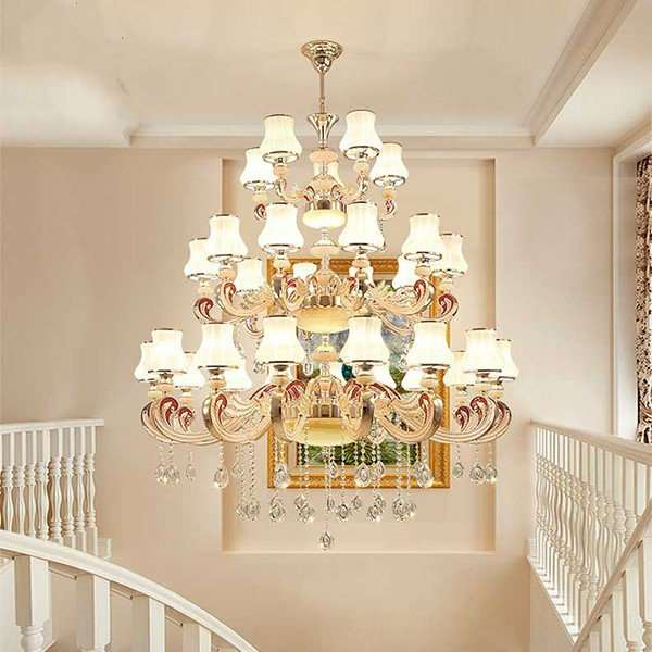 Zinc Alloy,Glass,Crystal Stairs/ Corner,Villa/ The Hotel Lobby,High Level/ Compound Electroplating European Chandelier,24 Above The Head