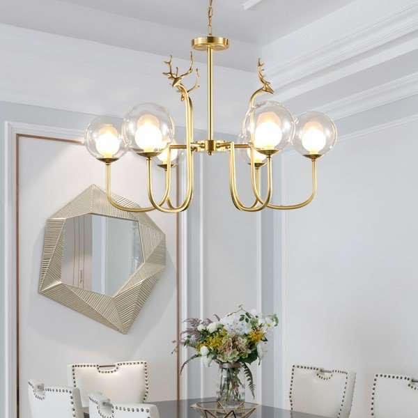 Copper,Glass Restaurant,Study/ Bedroom,Living Room Dyeing Post Modern Chandelier,6 Lights