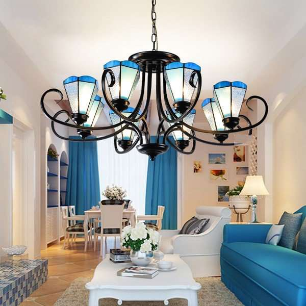 Iron Art,Glass Living Room Others/other Mediterranean Chandelier,8 Lights