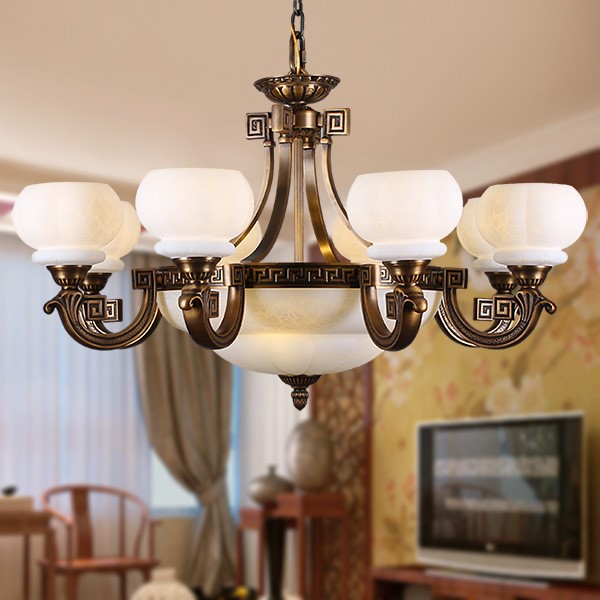Glass,Copper Living Room,Villa/ New Chinese Chandelier For Hotel Lobby Dyeing,8 Lights