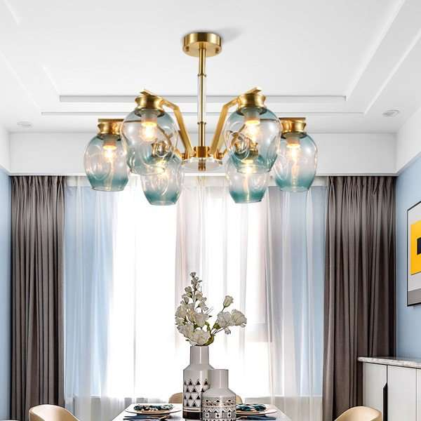 Copper,Glass Restaurant,Children's Room,Study/ Bedroom Dyeing Modern Simple Chandelier,6 Lights