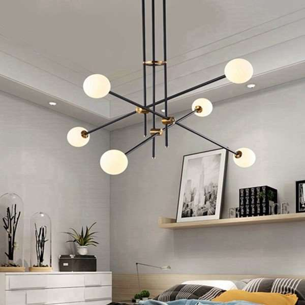 Iron Art,Glass Living Room,Restaurant Painted Frosted Post Modern Chandelier,6 Lights