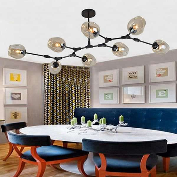Iron Art,Glass Living Room,Restaurant Painted Frosted Post Modern Chandelier,8 Lights