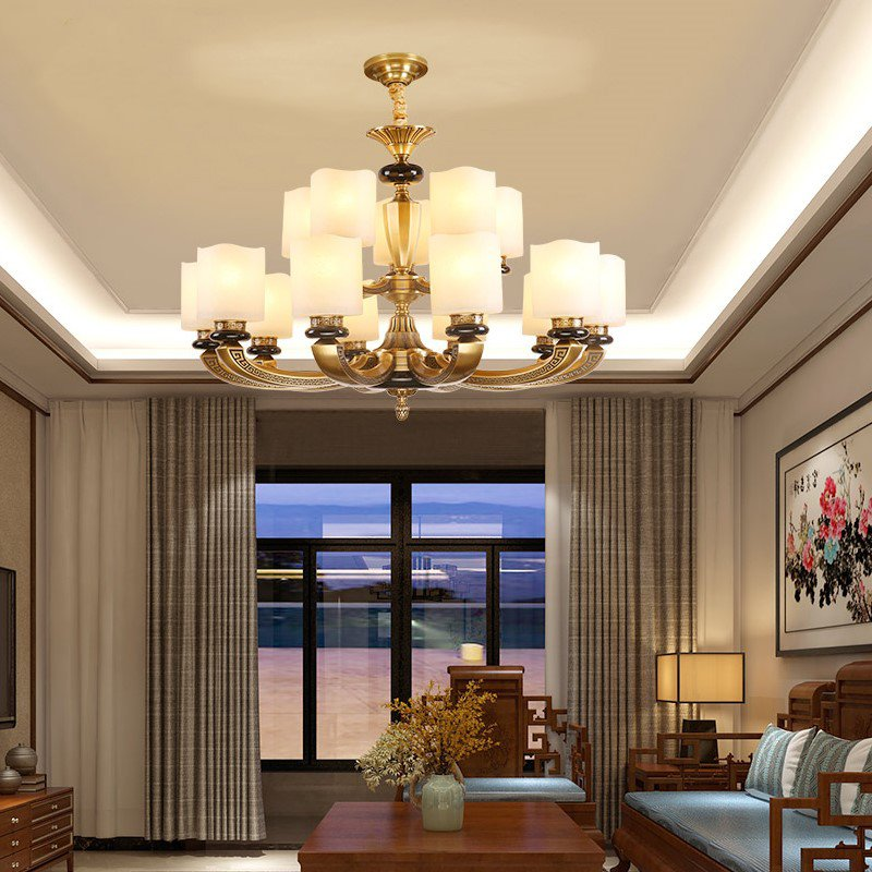 Glass,Copper,Stone Living Room,Villa/ New Chinese Chandelier For Hotel Lobby Dyeing,15 Lights