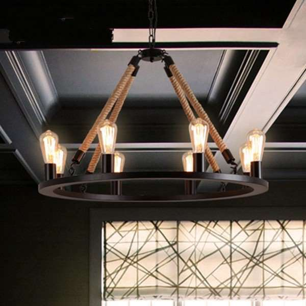 Iron Art,Hemp Rope Living Room,Restaurant Paint Scrub Industrial Wind Chandelier,8 Lights