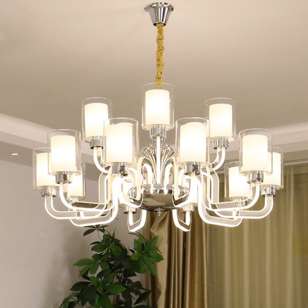 Acrylic,Stainless Steel Living Room Electric Punching Modern Minimalist Chandelier,15 Lights