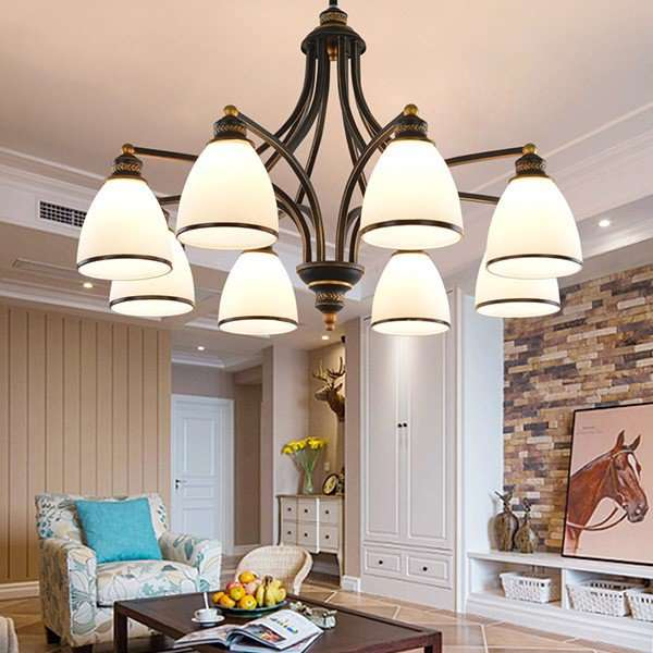 Iron Art,Glass Living Room,High Level/ Compound Spray Paint Frosted American Simple Chandelier,8 Lights