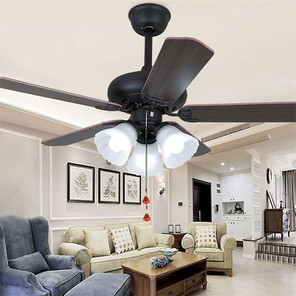 Glass,Wood Art,Iron Living Room,Study/ Bedroom,Restaurant Electroplating Retro Fan Light,3 Lights