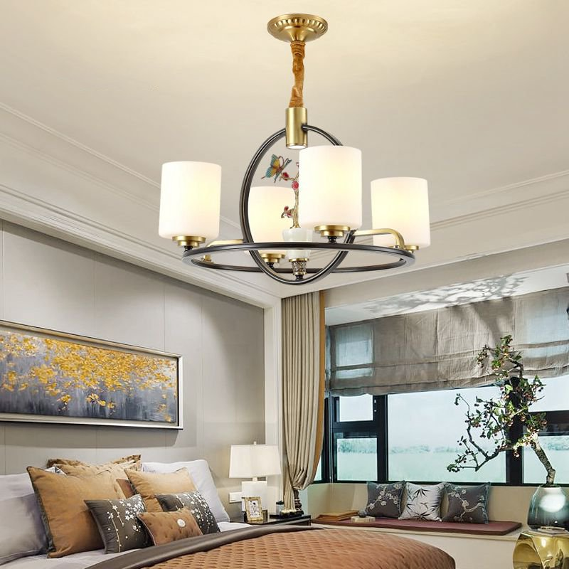 Copper,Glass High Rise/ Duplex,Restaurant,Study/ Bedroom Dyeing New Chinese Chandelier,4 Lights