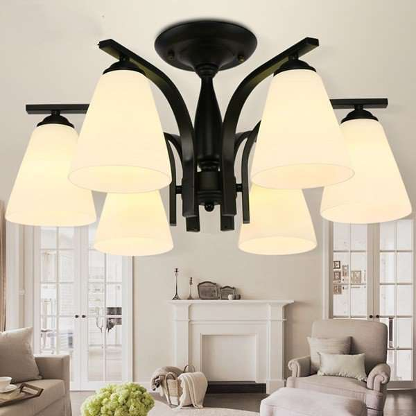 Iron Art,Glass Living Room,Restaurant Painting And Sanding Northern Europe\ IKEA Chandelier,6 Lights