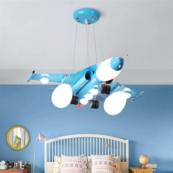 Iron Art,Glass Children's Room,Study/ Bedroom Spray Paint Frosted Children/ Cartoon Chandelier,5 Lights