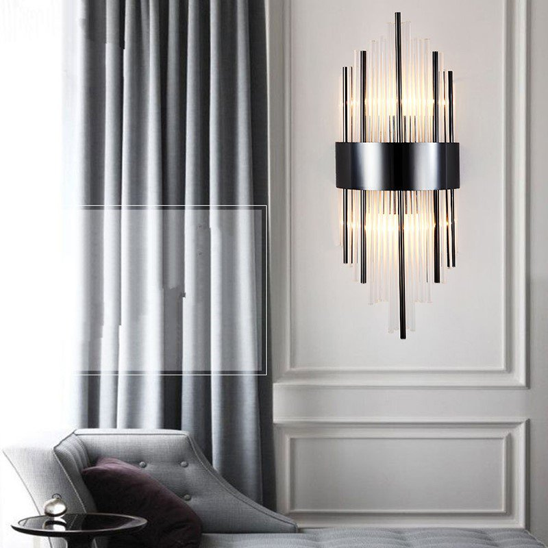 Crystal,Stainless Steel Villa/ The Hotel Lobby,Kitchen,Living Room Plating Light Luxury Wall Lamp, Single Head
