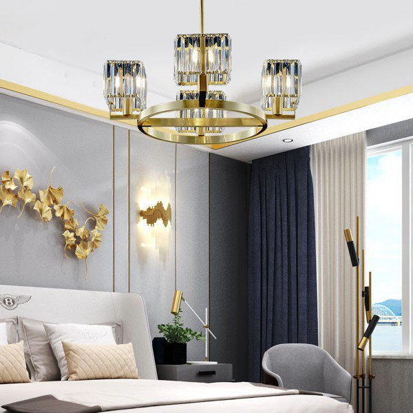 Copper,Crystal Cloakroom,Restaurant,Study/ Bedroom Dyeing Light Luxury Chandelier,4 Lights