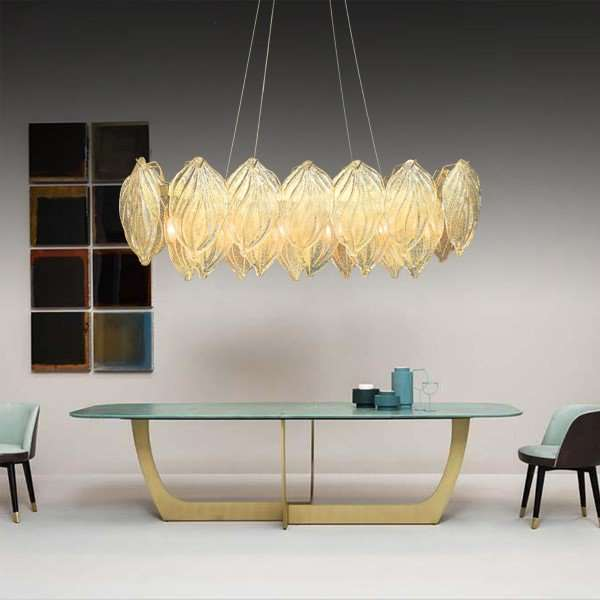 Iron Art,Glass Living Room,Restaurant Plated Modern Minimalist Chandelier,6 Lights