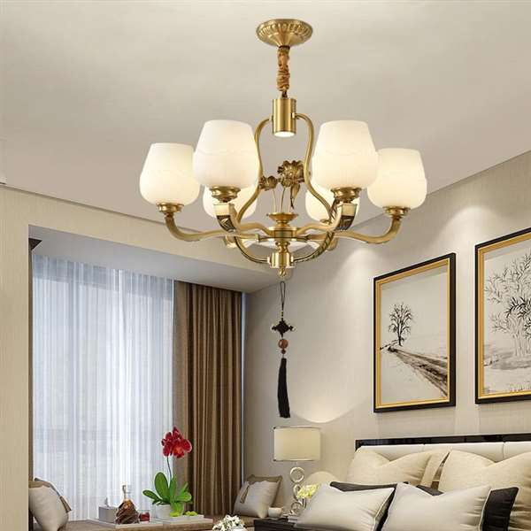Copper,Glass Study Room/ Bedroom,Villa/ The Hotel Lobby,High Level/ Compound Dyeing New Chinese Chinese Chandelier,6 Lights
