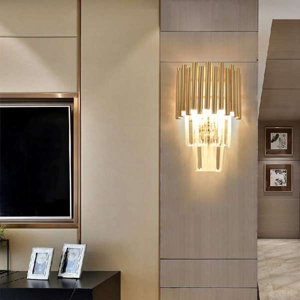 Crystal Living Room,Corridor/ Aisle/ Porch Plating Light Luxury Wall Lamp, Three Heads And Above