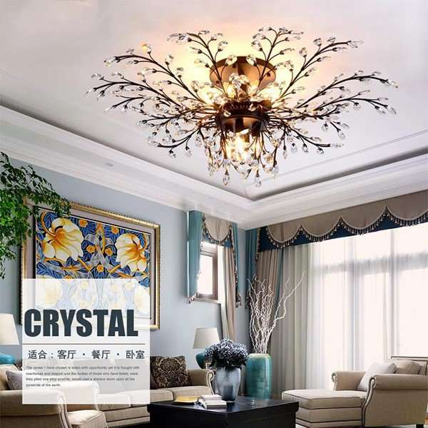 Iron Art,Crystal Living Room,Villa/ Hot Bend American Simple Ceiling Light In Hotel Lobby