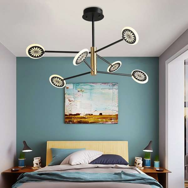 Iron Art,Acrylic Living Room,Study/ Bedroom,Restaurant Painting And Sanding Northern Europe\ IKEA Chandelier,6 Lights