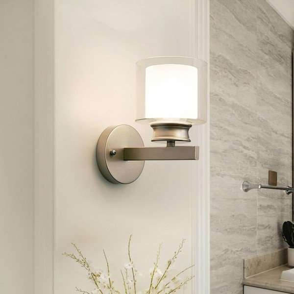 Iron Art,Glass Corridor/ Aisle/ Entrance,Restaurant,Living Room Spray Paint Frosted Modern Simple Wall Lamp, Single Head