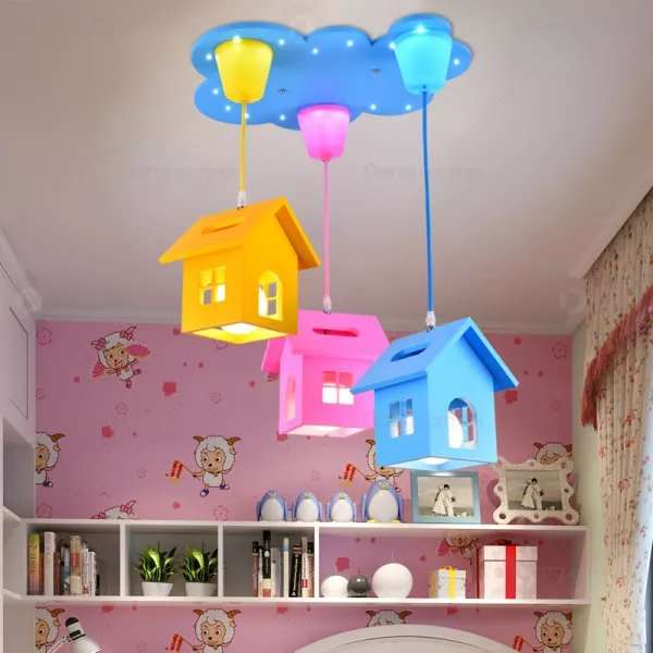 Wooden Children's Room Spray Paint Frosted Children/ Cartoon Ceiling Lamp