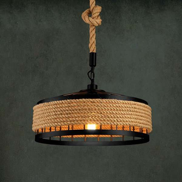 Iron Art,Hemp Rope Study Room/ Bedroom,Restaurant Paint Scrub Industrial Wind Chandelier,1 Lights