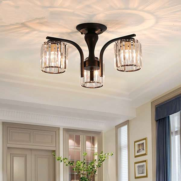 Iron Art,Crystal Living Room,Study/ Bedroom,American Simple Ceiling Light In Restaurant