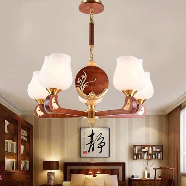 Copper,Solid Wood,Glass Study Room/ Bedroom,Restaurant,Stairs/ Corner Die-casting New Chinese Chandelier,5 Lights