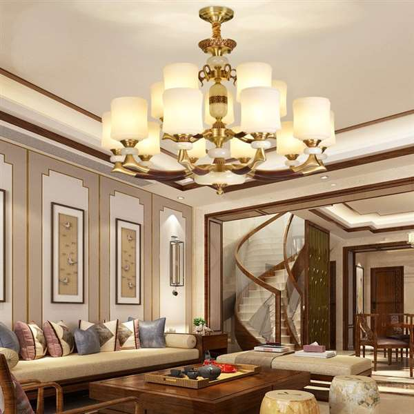 Glass,Copper,Jade Living Room,Villa/ New Chinese Chandelier For Hotel Lobby Dyeing,15 Lights