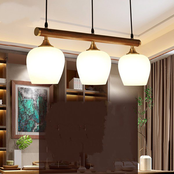 Copper,Wood Art,Glass,Solid Wood Study Room/ Bedroom,Restaurant,Villa/ The Hotel Lobby,High Level/ Compound Carving Chinese Chandelier,3 Lights