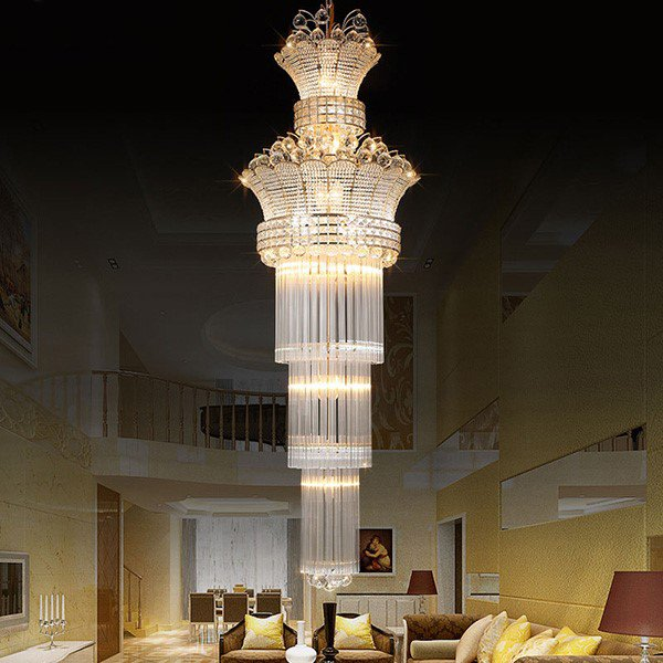 Iron Art,Glass,Crystal High Rise/ Duplex,Stairs/ Corner Electroplated Modern Simple Chandelier,22 Lights