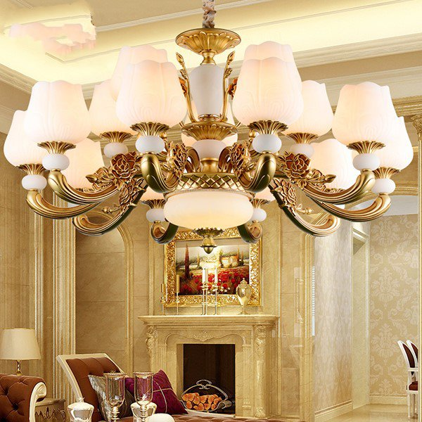 Zinc Alloy,Imitation Jade,Glass Living Room,Villa/ The Hotel Lobby,High Level/ Compound Spray Paint Frosted Simple European Chandelier,15 Lights