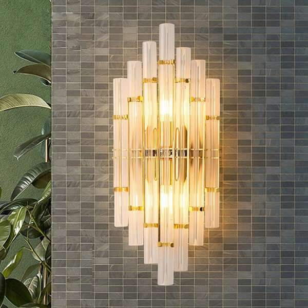 Glass,Iron Art Balcony,Corridor/ Aisle/ Entrance,Restaurant,Study/ Bedroom,Living Room Post Modern Wall Lamp, Double Head