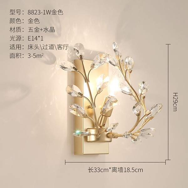 Iron Art,Crystal Living Room,Study/ Bedroom,Corridor/ Aisle/ Hot Bending American Simple Wall Lamp In The Porch, Single Head