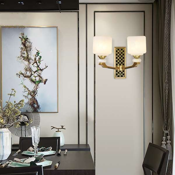 Glass,Copper,Jade Living Room,Villa/ New Chinese Wall Lamp For Hotel Lobby Dyeing, Double Head