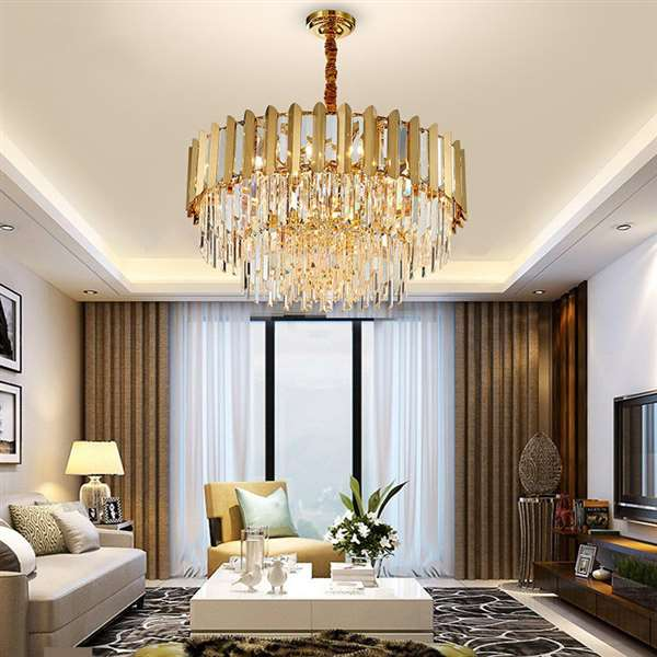 Iron Art,Crystal,Stainless Steel Living Room,Villa/ The Hotel Lobby,High Level/ Compound Light Luxury Chandelier,8 Lights