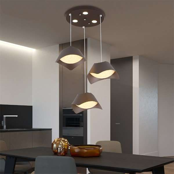 Tieyi Living Room Spray Painting And Frosting Modern Simple Chandelier,3 Lights