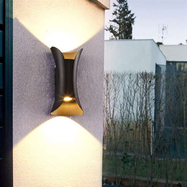Aluminum Balcony,Outdoor,Corridor/ Aisle/ Porch Spray Paint Frosted Modern Minimalist Wall Lamp, Double Head