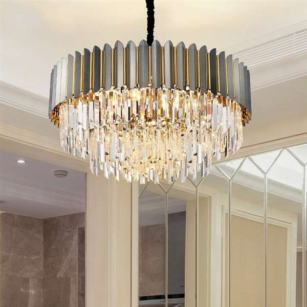 Iron Art,Stainless Steel,Crystal Living Room,Villa/ The Hotel Lobby,High Level/ Compound Light Luxury Chandelier,8 Lights
