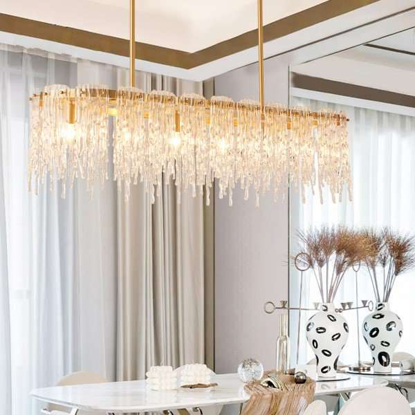 Copper,Glass Living Room,Study/ Bedroom,Restaurant Dyed Light Luxury Chandelier,5 Lights