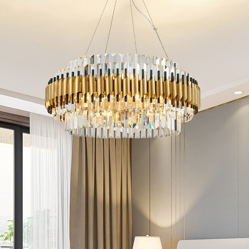 Iron Art,Crystal,Stainless Steel Living Room,Villa/ The Hotel Lobby,High Level/ Compound Light Luxury Chandelier,12 Lights