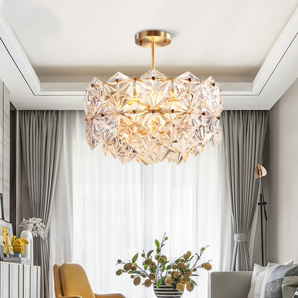 Copper,Glass Living Room,Study/ Bedroom,Restaurant Dyed Light Luxury Chandelier,4 Lights