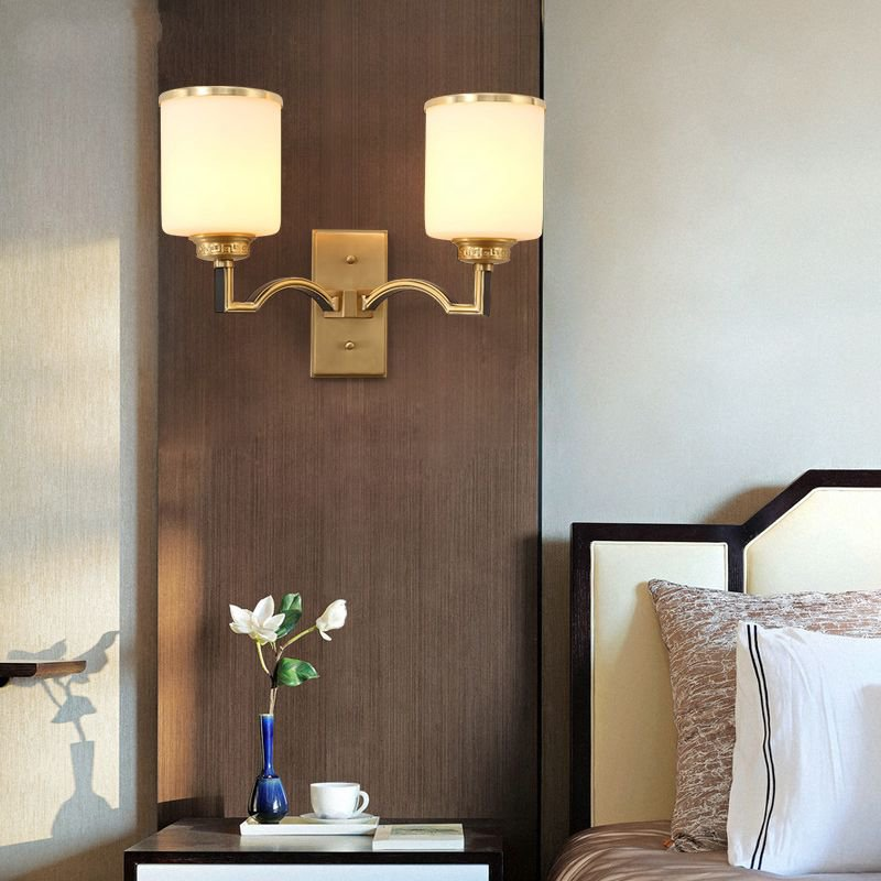 Copper,Glass Staircase/ Corner,Living Room,Study/ Bedroom Dyeing New Chinese Wall Lamp, Double Head