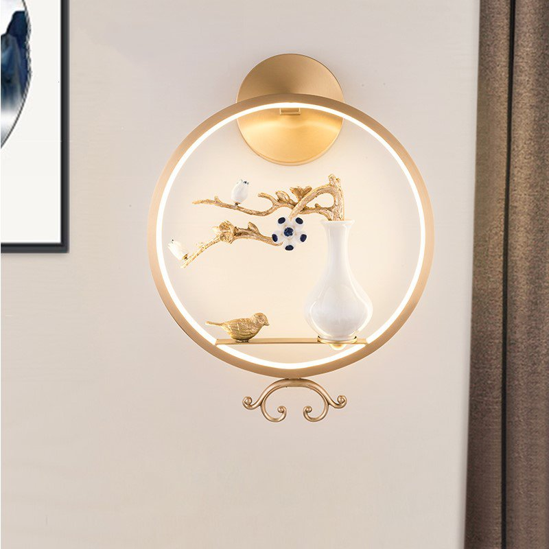 Copper,Glass Living Room,Study/ Bedroom,Corridor/ Aisle/ Porch Brushed Hanging New Chinese Wall Lamp, Single Head