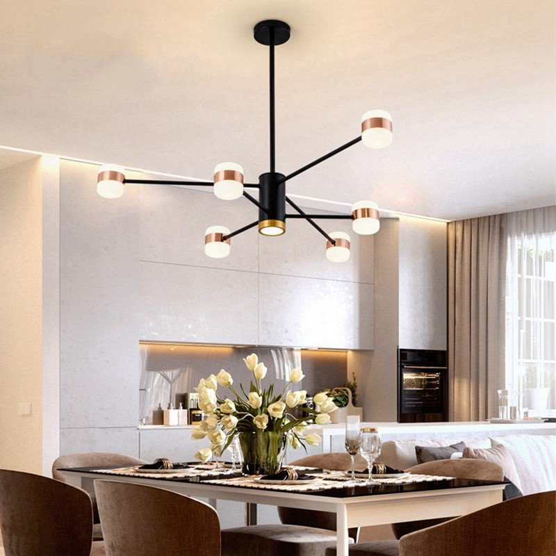 Iron Art,Acrylic Living Room,Study/ Bedroom,Restaurant Painted Frosted Post Modern Chandelier,6 Lights