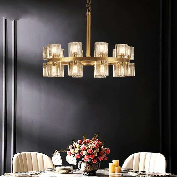 Crystal,Copper Living Room,Study/ Bedroom,Restaurant Painted Frosted Post Modern Chandelier,20 Lights