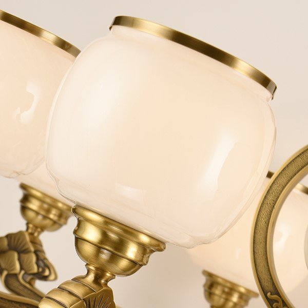 Glass,Copper,Jade Restaurant,Study/ Bedroom,Living Room Dyeing New Chinese Chandelier,6 Lights