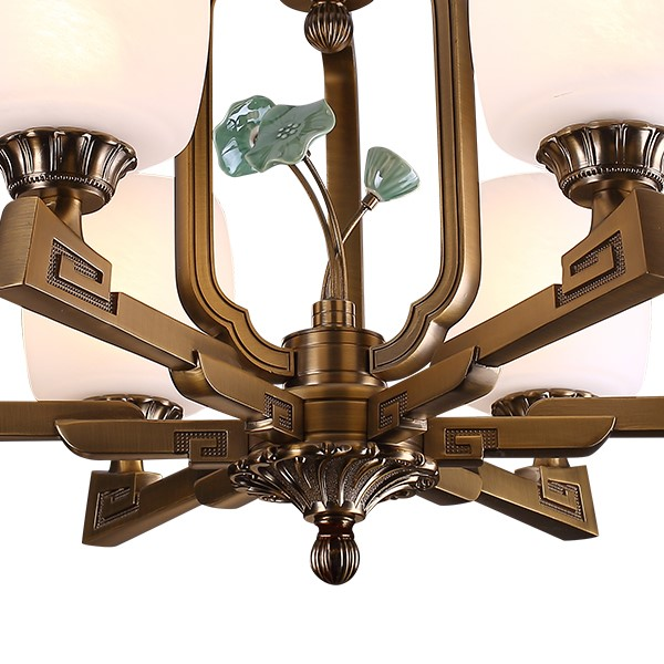 Zinc Alloy,Glass,Ceramic Other,Living Room Plating New Chinese Chandelier,24 Above The Head