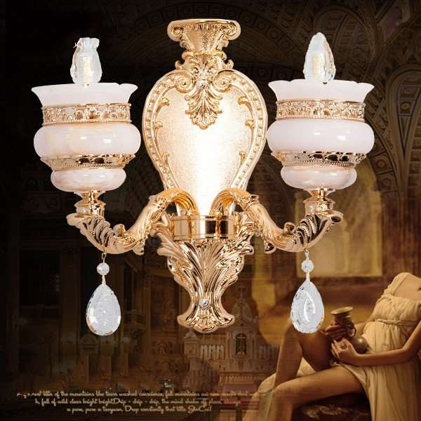 Crystal,Zinc Alloy,Jade Corridor/ Aisle/ Entrance,Stairs/ Corner Electroplated European Wall Lamp, Double Head