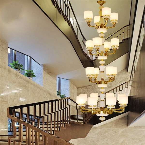 Glass,Copper,Marble High Rise/ Duplex,Stairs/ Corner Dyed New Chinese Chandelier,20 Lights