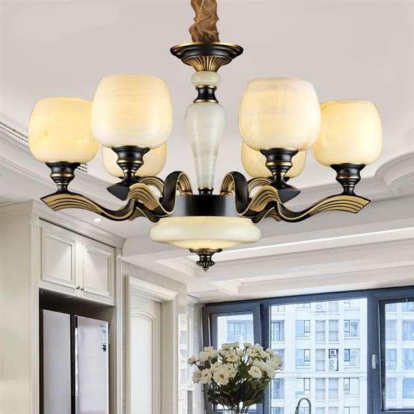 Copper,Jade Children's Room,Study/ Bedroom,Restaurant Electroplating European Chandelier,6 Lights